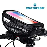 Faireach Bike Handlebar Bag with Mobile Phone Holder, Bicycle Frame Top Tube Pouch, Waterproof Cycle Cell Phone Mount with Touch Screen Window, for iPhone Samsung Smart Phone up to 6.5''