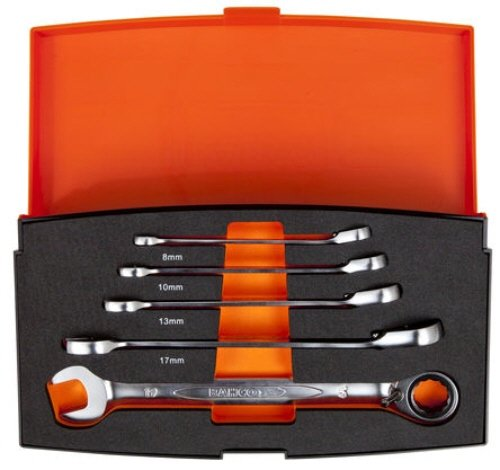 Bahco 1RM/S5 Ratchet Combination Spanner Set, Multi-Colour
