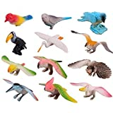 Amaonm Pack of 12 3D Plastic Flying Birds Animals Figure Toy Model Set Kids Toy Multi-color Kids Education puzzle Learning Toys for Nursery School Gift