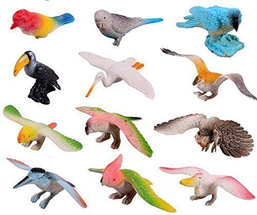 Amaonm Pack of 12 3D Plastic Flying Birds Animals Figure Toy Model Set Kids Toy Multi-color Kids Education puzzle Learning Toys for Nursery School (Diorama Figure Set)