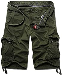 KIWEN® Men's Summer Casual Wear Cotton Muti-Pocket Cargo Shorts(Khaki,US:30 SIZE)