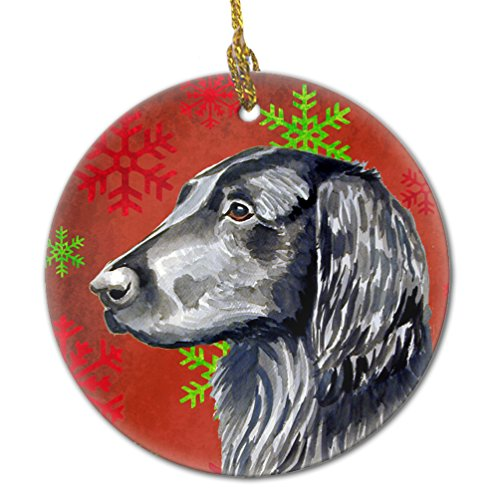 (Caroline's Treasures LH9321-CO1 Flat Coated Retriever Red Snowflake Holiday Christmas Ceramic Ornament, Multicolor)