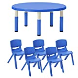 ECR4Kids40'' Round Resin Activity Table with Five 14'' Resin Chairs - Indoor/Outdoor Kids Seating Set for Classrooms, Daycares, Playgrounds, Blue