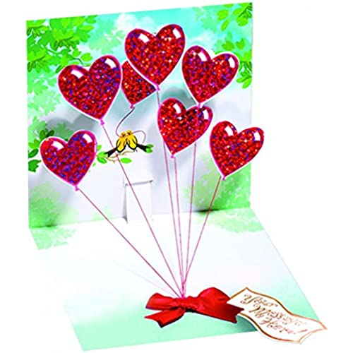 1 X HEART BALLOONS - Up With Paper - Pop-Up Greeting Card #618 Sales