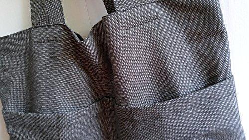 Black/Grey Cotton Linen_ Eco Friendly Handmade Tote Bag, Shoulder Bag