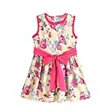 Clearance Bestoppen Baby Girls Princess Dress,Cute Sleeveless Flower Printed Mini Dresses Toddler Kids Summer Formal Floral Tutu Party Dress Bowknot Wedding Dress for Girls Size for 1-7 Years Old (White, 120/4-5Y)