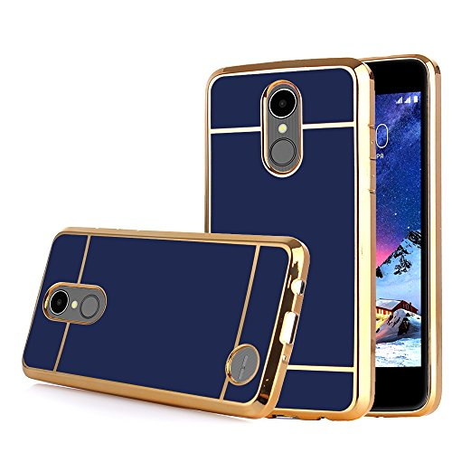 TabPow LG Aristo Case, Electroplate Slim Glossy Finish, Drop Protection, Shiny Luxury Case For LG Phoenix 3 / LG K8 2017 / LG Fortune / LG Risio 2 – Royal Blue Gold