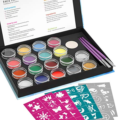- Professional Face Paint Kit for Kid and Adult with 48 Stencils, Nicpro Non-Toxic Water-Based Body Face Makeup Painting Set of 16 Colors & 2 Glitters 3 Assorted Paint Brushes 2 Sponges