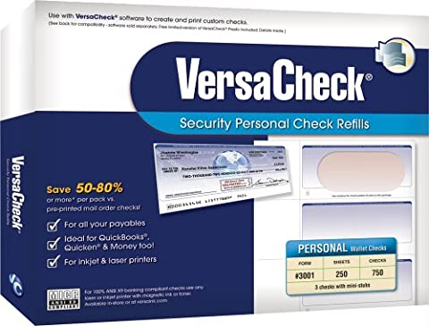VersaCheck Security Personal Check Refills: Form #3001 Personal Wallet - Burgundy - Graduated - 250 Sheets