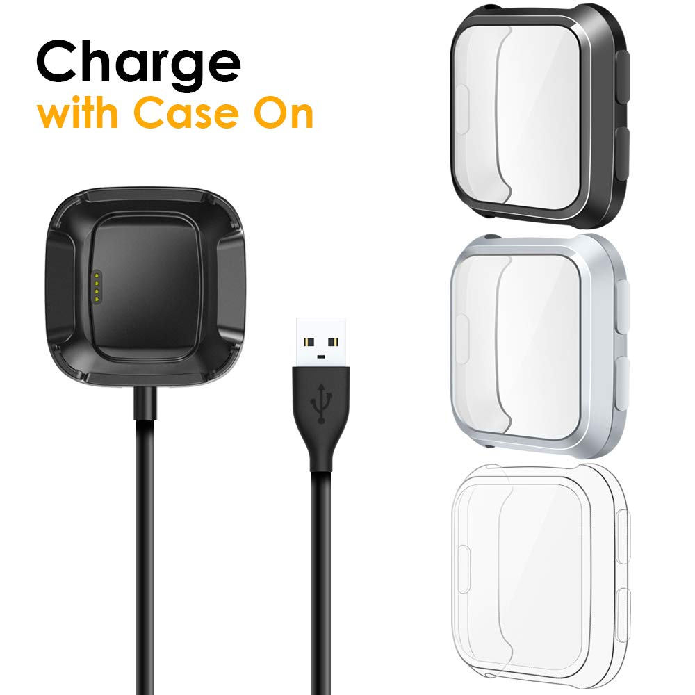 EZCO [3+1 Pack] Screen Protector Plus Charger Compitible with Fitbit Versa, Exclusive Charging Dock Cable (Can Charge Case On) Soft TPU Full Coverage Case Cover Bumper for Versa Watch (Not for Versa 2) by EZCO