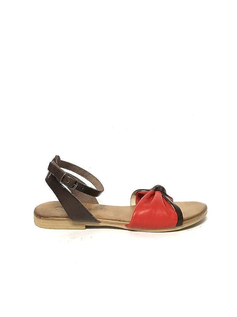 ZETA ZETA ZETA scarpe Sandali Donna Fiocco in Pelle Nero Giallo Tacco Basso Cinturino MainApps a054db
