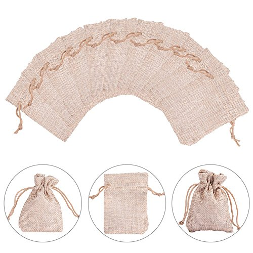 NBEADS 30Pcs Dark Khaki Small Burlap Drawstring Bags Jewelry Pouch Gift Bags for Candy, Snacks, Wedding, Arts and DIY Crafts, Baby Showers, Festival Occasions, 3.5 x 2.8 inch by NBEADS