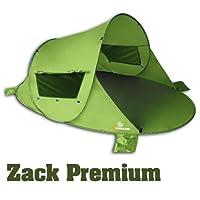 Pop up Strandmuschel Zack PREMIUM von outdoorer, hoher Sonnenschutz UV 80, grün, inkl. Sandheringe, 3 Fenster und verstärkter Boden - selbstaufbauende Strandmuschel, kleines Packmaß