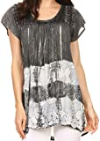 Sakkas S-4-85100 - Layleka Long Tie Dye Ombre Batik Embroidered Sequin Beaded Shirt Blouse Top - Grey - OS