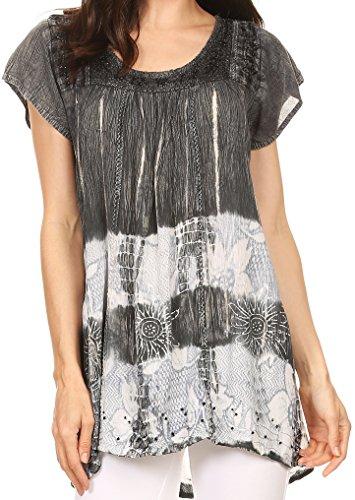 Sakkas S-4-85100 – Layleka Long Tie Dye Ombre Batik Embroidered Sequin Beaded Shirt Blouse Top – Grey – OS