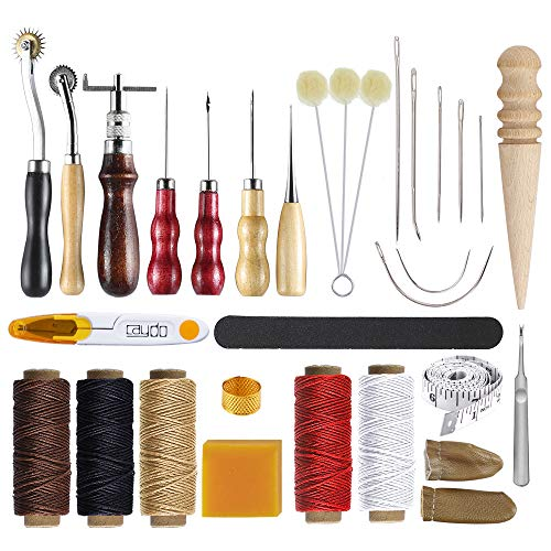 Caydo 25 Pieces Leather Craft Hand Tool Including Stitching Groover Basic Hand Stitching Sewing Tool Set Saddle Groover Leather Craft DIY Tool
