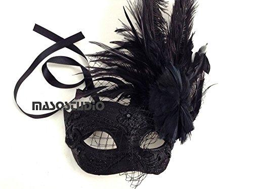 MasqStudio Black White Masquerade Ball Mask Flapper Veil
