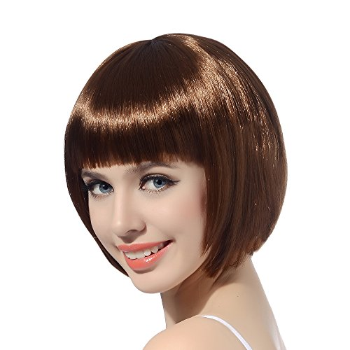 Brown Short Bob Cosplay Flapper Wig-Synthetic Costume Women's Natural Looking Halloween Party Christmas Bangs Wigs]()