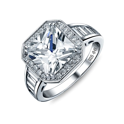 Art Deco Style 5 CT AAA CZ Baguette Halo Square Princess Cut Promise Engagement Rings For Women Sterling Silver ()