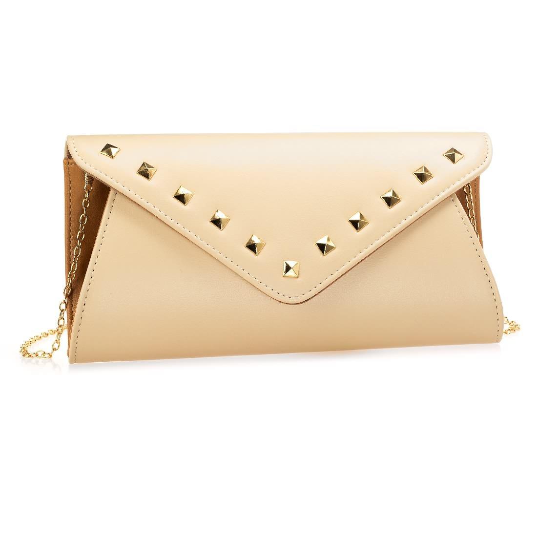 BMC Womens Faux Leather 2 Tone Rivet Accent Envelope Flap Fashion Clutch Handbag