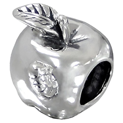 Chamilia Apple - So Chic Jewels - 925 Sterling Silver Apple Bead - Compatible with Pandora, Trollbeads, Chamilia, Biagi