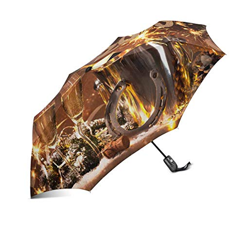 InterestPrint Happy New Years Eve Celebration with Flutes and Bottle of Champagne Windproof Compact One Hand Auto Open and Close Folding Umbrella, Rain & Outdoor Unbreakable Travel Umbrella