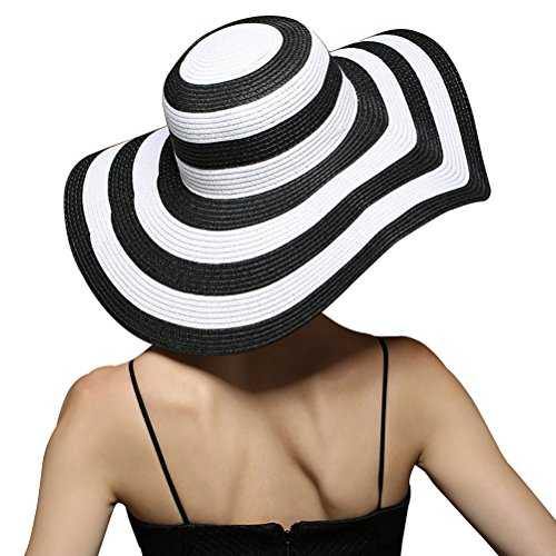 asimoon-womens-summer-striped-sun-hat-wide-brim-sunscreen-beach-straw-hats-black-and-white