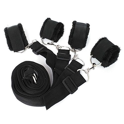 Salovin Bedroom Bed Restraint Kit, Adjustable Straps Fit Almost Any Size Mattress, Padded Handcuffs Ankle Cuffs Restraint Under Bed System(Black) by Salovin