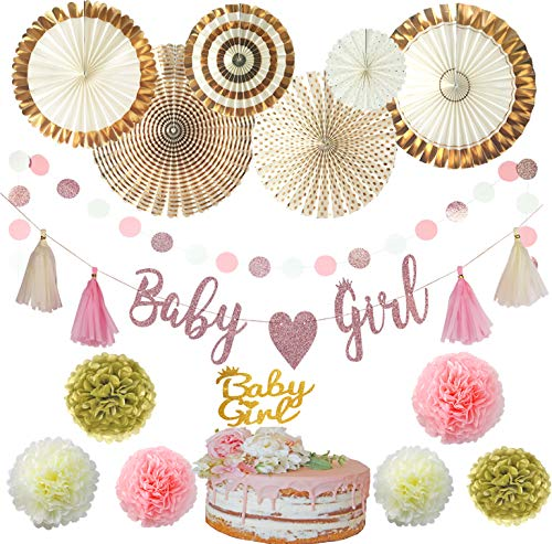 Baby Shower Decorations for Girl | Pink and Gold Baby Shower Decorations | It's a Girl | ALL-IN-ONE | Cake Topper, Paper Fans, Flower Pom Poms,