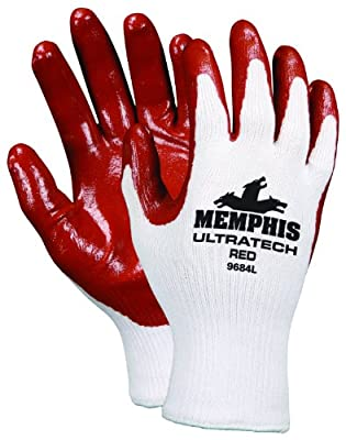 Memphis Glove UltraTech Red Cotton/Polyester Shell Gloves with White Hemmed Cuff
