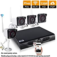Esun Wireless CCTV Video Security System Four 720P Weatherproof Outdoor IR IP Cameras NVR Kit, 82ft Night Vision, Motion Detection Push Alerts, P2P support Smartphone Remote View (NVR 4CH Cameras)