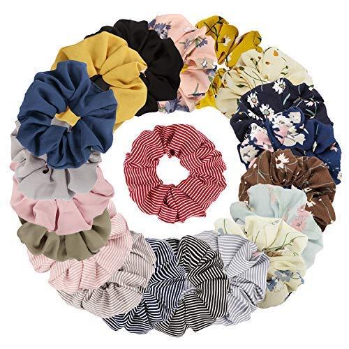 Jaciya 20 Pack Summer Scrunchies for Hair - Women's Large Hair Scrunchies for Hair, 8 Colors Chiffon Flower Hair Scrunchie, 6 Solid Colors Chiffon Scrunchy, 6 Colors Striped Scrunchies Hair Ties ()