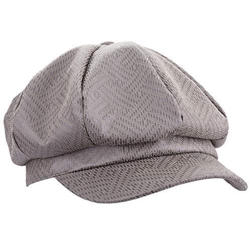 moonsix Newsboy Hat,Plain Cabbie Visor Beret Gatsby Ivy Caps for Women,Khaki(PU Leather) by moonsix