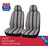 West Coast Auto Baja Blanket Bucket Seat Cover for Car, Truck, Van, SUV - Airbag Compatible (4PCS) (Black-low back)