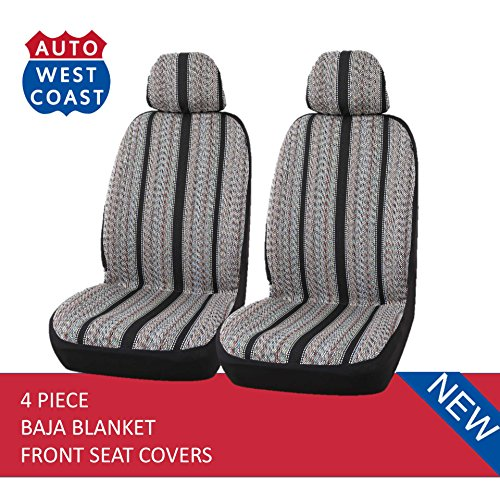 (West Coast Auto Baja Blanket Bucket Seat Cover for Car, Truck, Van, SUV - Airbag Compatible (4PCS) (Black-low)