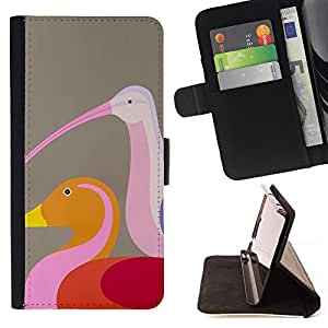 Jordan Colourful Shop - duck birds brown pink art colorful For Sony Xperia Z2 D6502 - < Leather Case Absorci????n cubierta de la caja de alto impacto > -