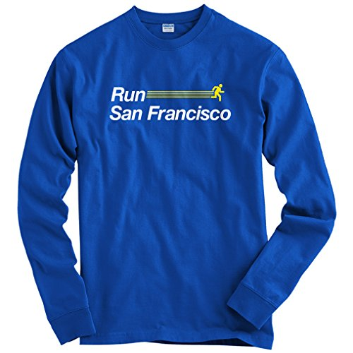 Smash Vintage Men's Run San Francisco V2 Long Sleeve T-Shirt - Royal Blue, - Shirt Marathon Francisco San