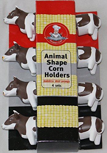 Gourmet Chef Animal (Cow) Shaped Corn on the Cob Holders- *2 pack*- (8 Sets) by Gourmet Chef