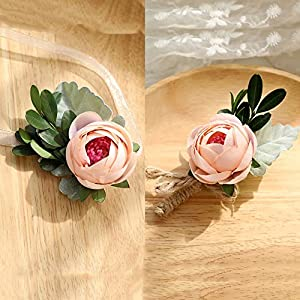 Florashop Satin Peony Buds Corsage and Boutonniere Pack Wedding Bridal Bridesmaid Wrist Corsage Band Men's Groom Bridegroom Boutonniere for Wedding Prom Party Homecoming (Champagne) 110