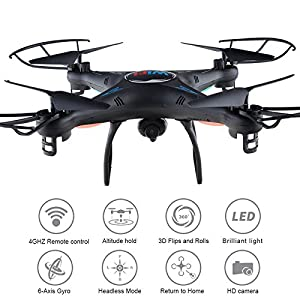 RC Quadcopter UAV with FPV WiFi Camera and HD Live Video, Kingtoys 6-Axis Gyro FPV 360° Flips Altitude Hold, 2.4Ghz 4CH Headless / IOC Drone UFO by Haibei