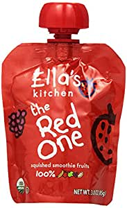 Ella's Kitchen The Red One, Fruit Smoothie with Raspberry Banana Plus Strawberry, 4 pack, 3 oz pouches