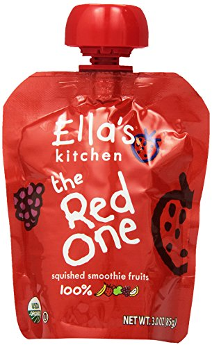 - Ella's Kitchen The Red One, Fruit Smoothie with Raspberry Banana Plus Strawberry, 4 pack, 3 oz pouches