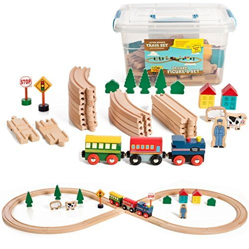 35 Piece Deluxe Figure 8 Wooden Train Set, Comes In A Clear Container, Compatible With All Major ()