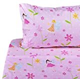 J-pinno Flower Fairy Twin Sheet Set for Kids Boys Girls Children,100% Cotton, Flat Sheet + Fitted Sheet + Pillowcase Bedding Set