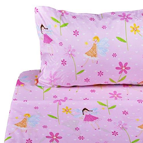 J-pinno Flower Fairy Twin Sheet Set for Kids Boys Girls Children,100% Cotton, Flat Sheet + Fitted Sheet + Pillowcase Bedding Set