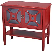 Heather Ann Creations Modern 2 Door Accent Console Cabinet With Half Circle Pane Glass Insert and Bottom Shelf Red