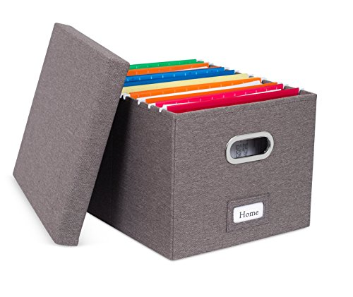 Internet's Best Collapsible File Storage Organizer | Decorative Linen Filing & Storage Office Box | Letter/Legal | Charcoal | 1 Pack ()