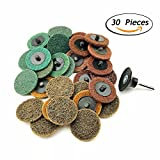2 Inch Assorted Grit Roloc R-Type Sanding Discs Nylon Non Woven Fabric Quick-Change Surface Conditioning Disc, 10pcs each of Coarse/Medium/Fine Grit (total 30pcs) + 1/4'' Shank Disc Pad Holder