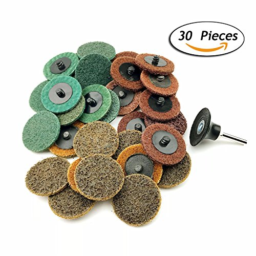 2 Inch Assorted Grit Roloc R-Type Sanding Discs Nylon Non Woven Fabric Quick-Change Surface Conditioning Disc, 10pcs each of Coarse/Medium/Fine Grit (total 30pcs) + 1/4'' Shank Disc Pad Holder by e-Rookie (Image #5)