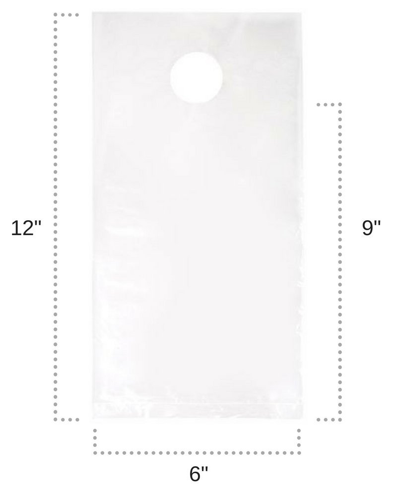 ClearBags 6 x 9 Door Hanger Bags (1000 Bags) for Door Knob Flyers Promotions Coupons | White Plastic Poly Hanging Bags for Mail | Newspaper Bags with Hangers Protect Against Rain, Dirt, Bugs | DK3WB